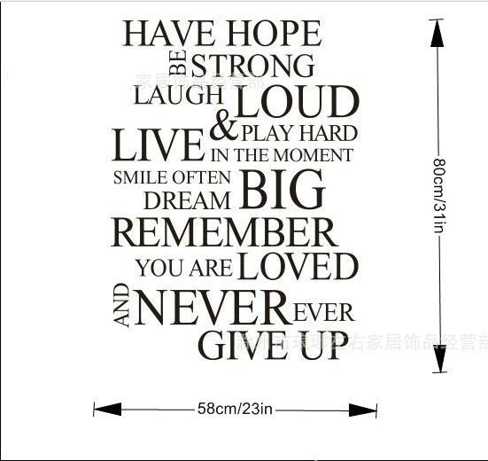 Have Hope Quote Wall Stickers Art Quotes Sticker Decal Decals Home