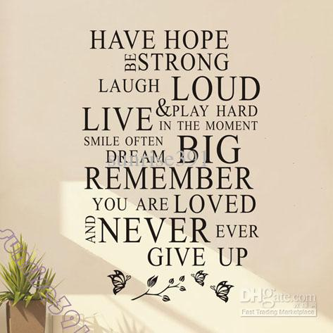 Wholesale Wall Stickers - Buy Wall-038Asmall Black Have Hope Quote